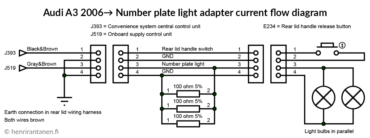 Audi number plate light led resistor adapter schematic diagram