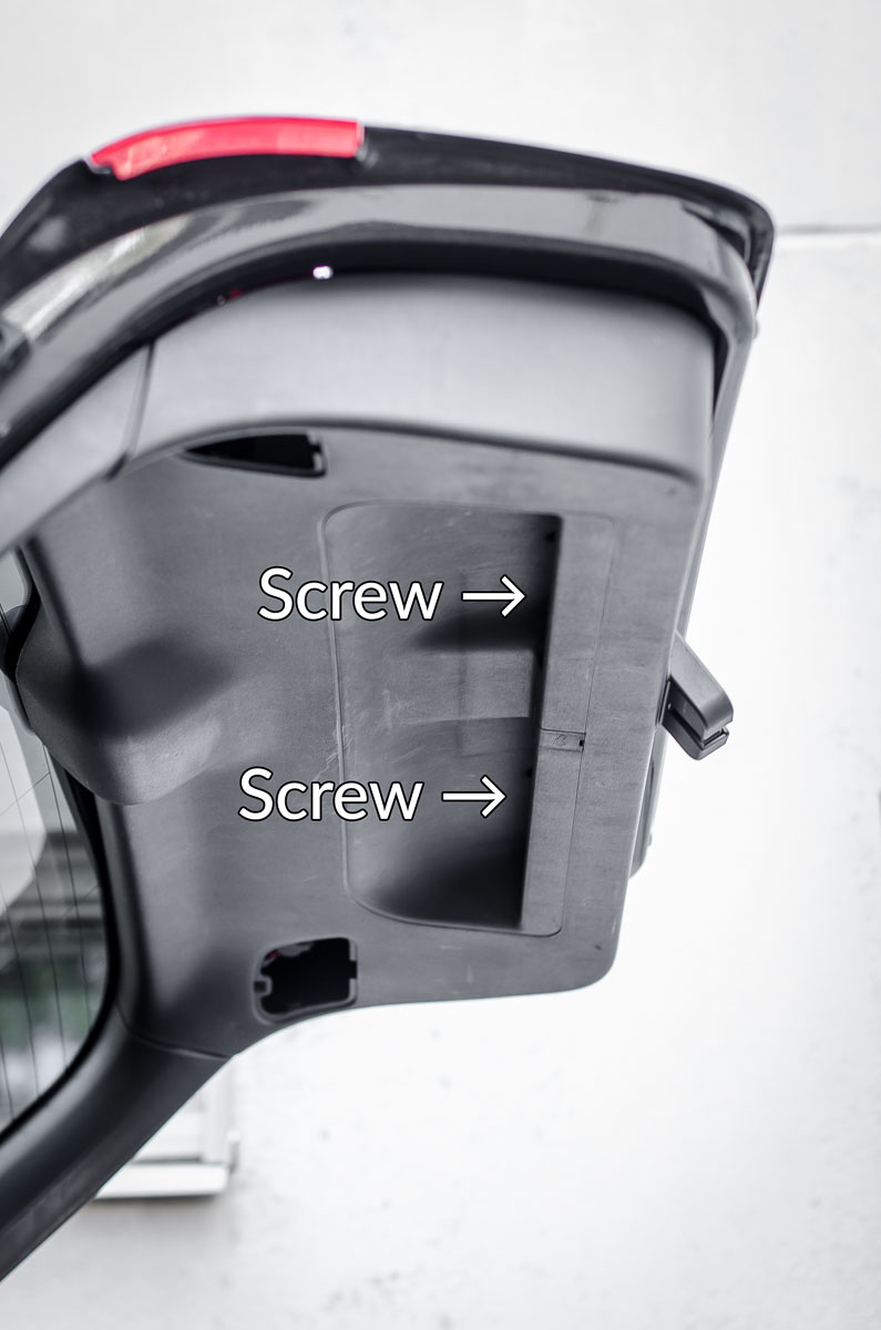 Audi A3 rear lid trim screw locations