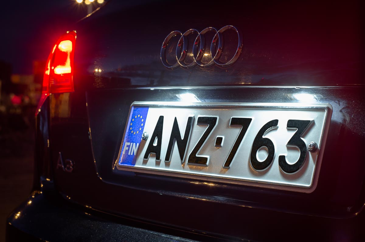 Audi A3 sportsback with LED number plate lights