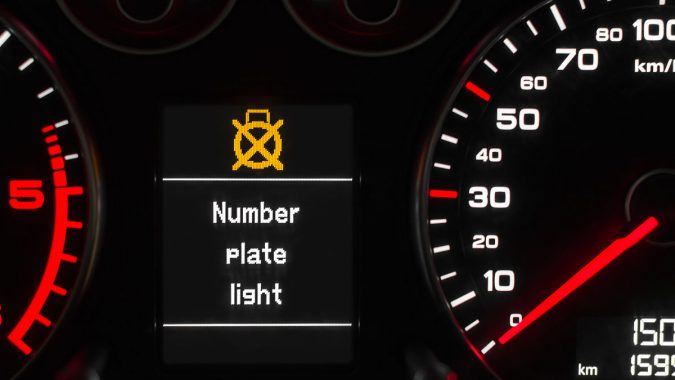 Audi number plate light warning