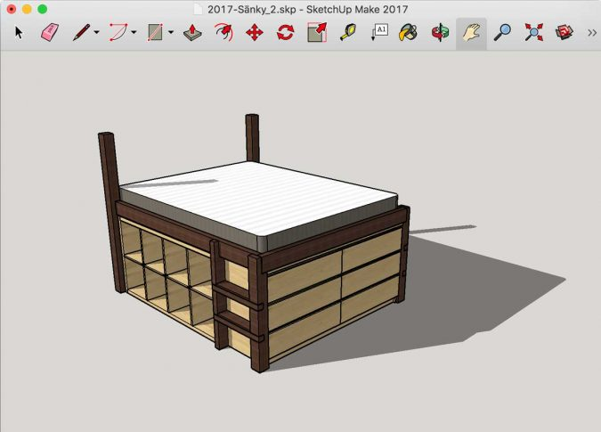 CAD Drawing of the storage bed frame in SketchUp