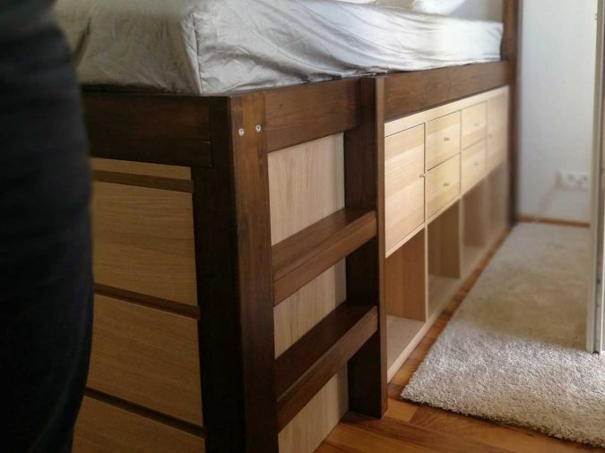 Ikea Kallax book shelfs in a bed structure