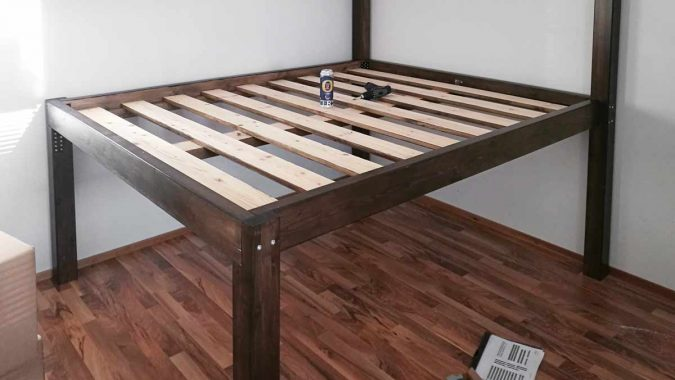 diy storage bed frame support structure