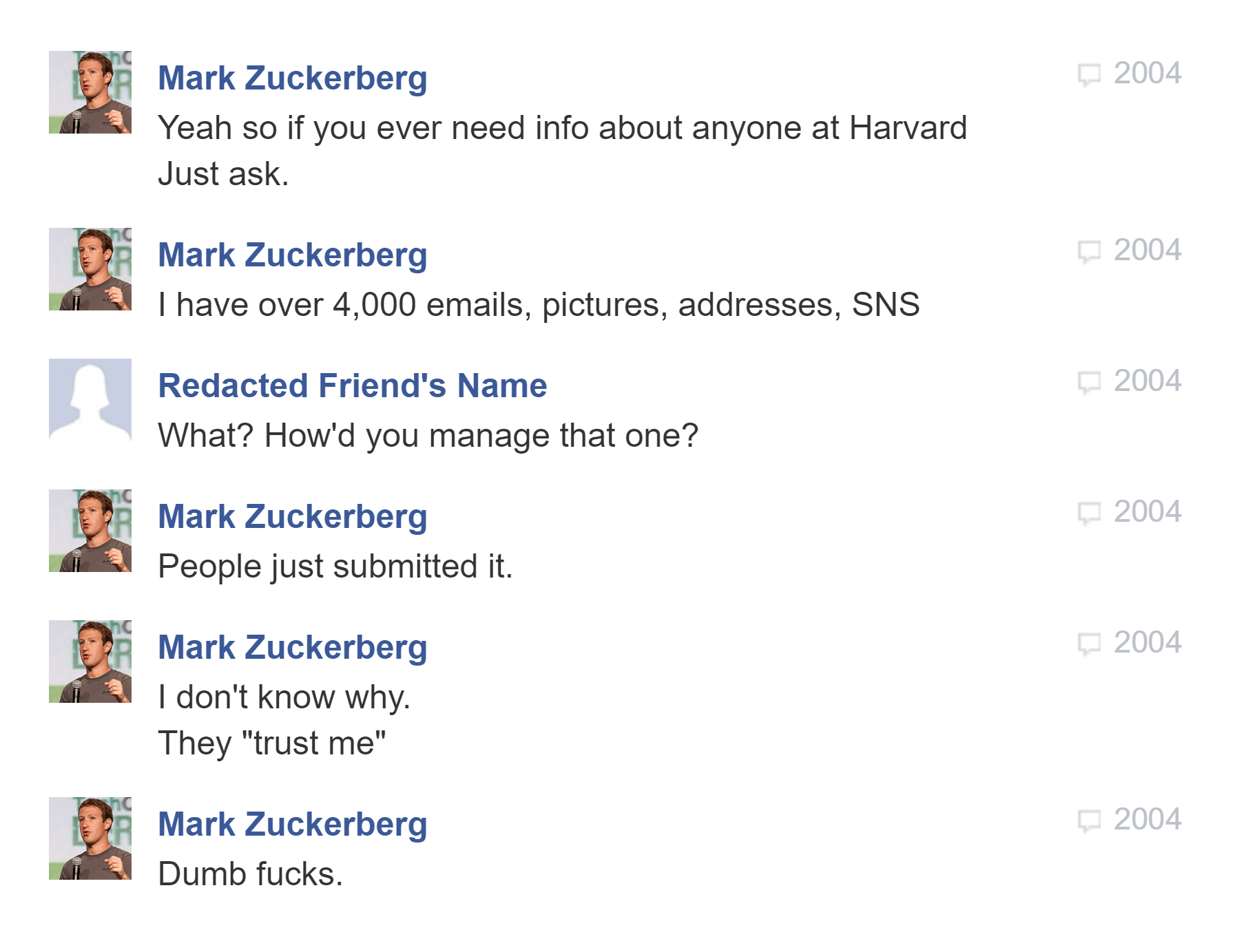 Mark Zuckerberg messages 2004 dumb fucks