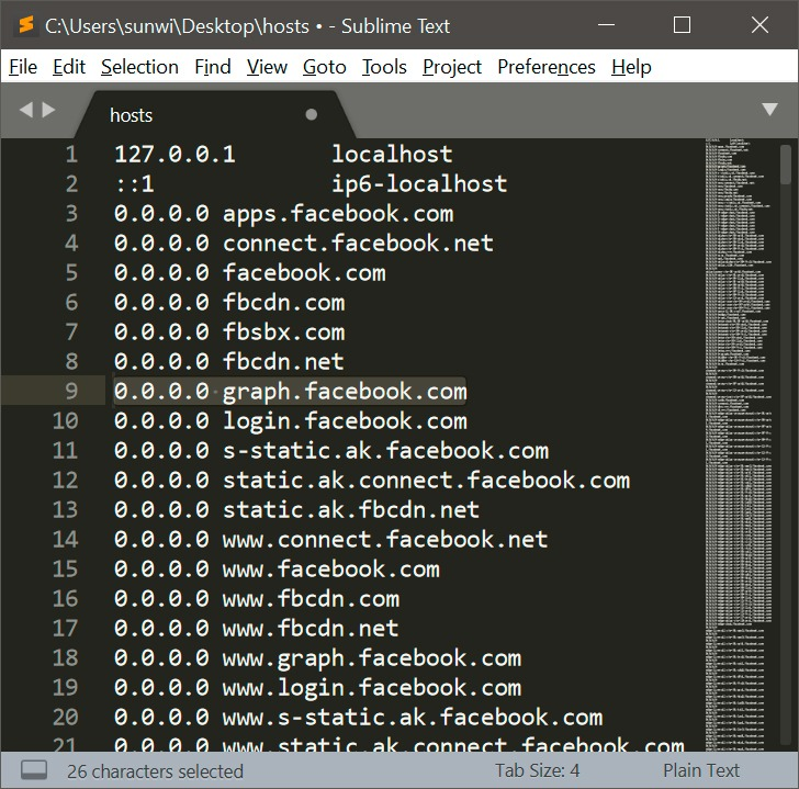 Block Facebook tracking from hosts file