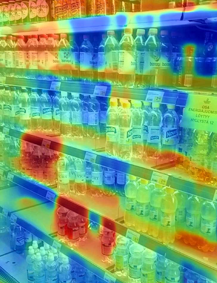 thermal image of soda in the fridge